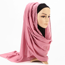 2020夏新作レディースピンク赤無地シフォンパールビーズヒジャーブスカーフecharpe女性パレスチナイスラム教徒頭髪スカーフbufandas