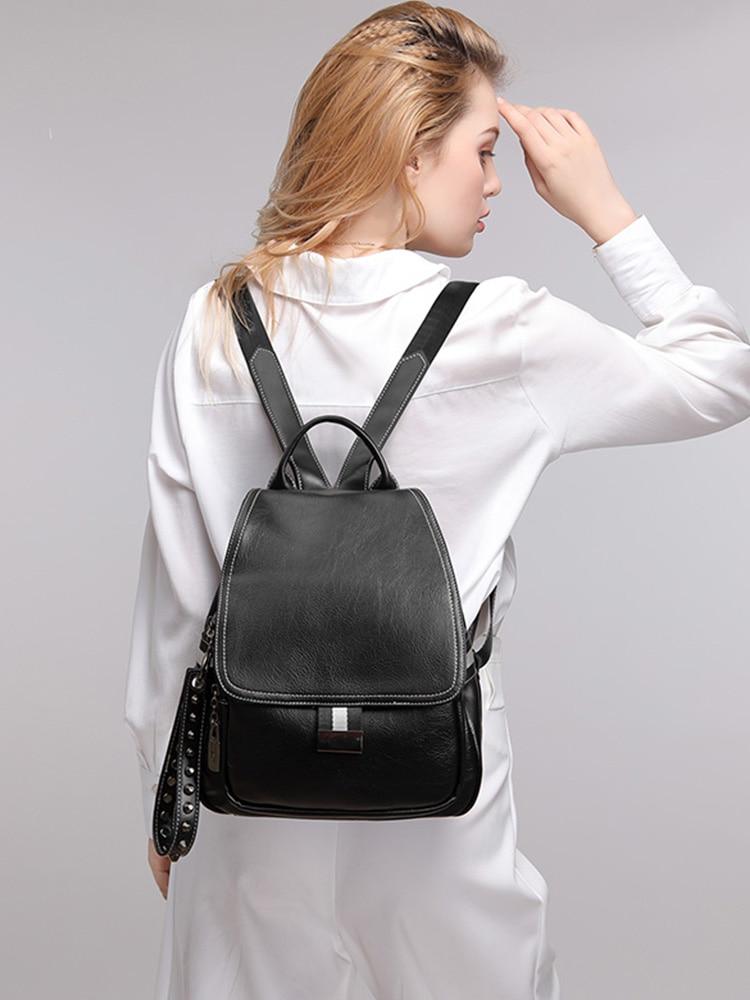 Couro genuíno mochila feminina 2020 nova moda