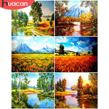 HUACAN DIY Pictures By Number Forest Kits Drawing On Canvas Painting By Numbers Scenery Hand Painted Art Gift Home Decor