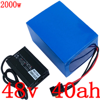 48V 1000W 2000W battery 48V 40Ah electric bike battery 48V 40AH lithium battery pack with 50A BMS+54.6V 5A Charger free shipping