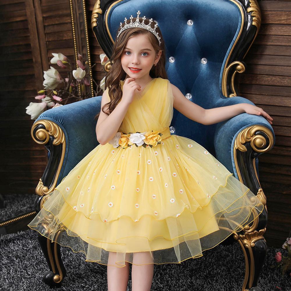 The NewFlower Vintage Embroidery Baby Girls Dress Opening Ceremony Clothing Tutu Party Elegant Wear Girls Princess Dress Kids 1