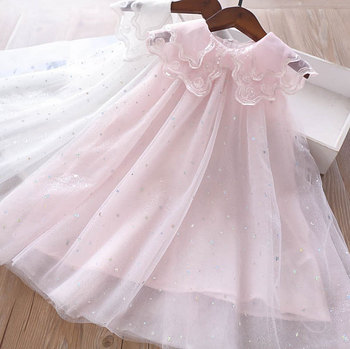 5219Rainbow Ruffles Tutu Sleeveless Princess Baby Girl Dress Summer Party Wedding Kid Dress For Girl Wholesale Child Clothes