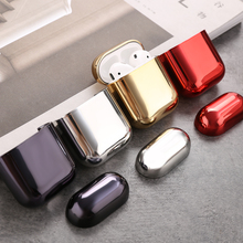 Electroplate PC Shining Plating Case For AirPods 2 1 Portable Earphone Protect Earphone Protective Cover For Apple Air pods 1 2 cheap CASPTM CN(Origin) Earphone Cases Protective Dust Stickers Earphone Case For Apple AirPods Case Plastic Electroplate Hard PC