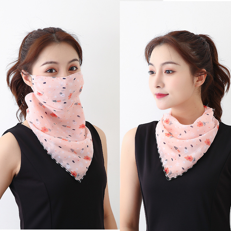 2020 Fashion Mouth Mask Lightweight Face Mask Scarf Sun Protection Mask Outdoor Riding Masks Protective Silk Scarf Handkerchief