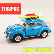 New Technic Series Blue Beetle Car City Fit Technic Car 10252 City Model Building Blocks Bricks Diy Toy Gift Kid new playground series fits legoings creators city streetview set house figures model building kit bricks blocks diy gift kid toy