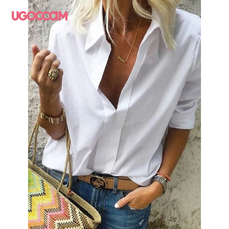 Hbe02b8521faf4ce78fbdcb82528933fep - UGOCCAM Women Blouse Long Sleeve Blouse Shirt Print Office Turn-down Collar Blouse Elegant Work Plus Size Tops Fashion Women Top