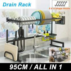 Escurridor de acero inoxidable de 2 niveles, plato, plato, taza, escurridor, estante para almacenaje de cocina, organizador, soporte para fregadero, escurridor