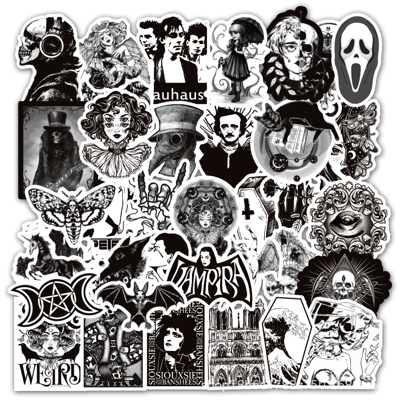 50Pcs/Lot Gothic Wind Stickers Black White Retro Horror Thriller Skull Girls Sticker For Luggage Skateboard Laptop Decal Sticker