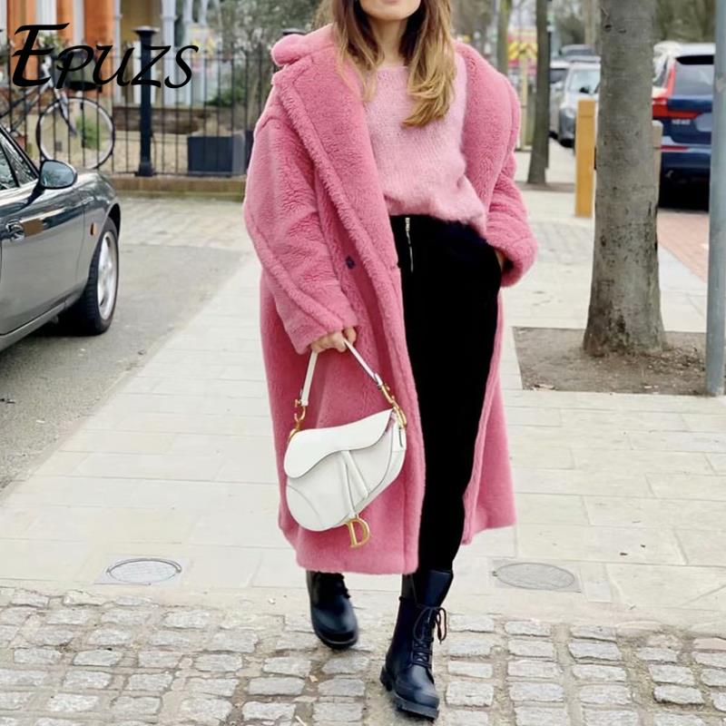 Pink Long Teddy Bear Jacket Coat Women Winter 2019 Thick Warm Oversized Chunky Outerwear Overcoat Women Faux Lambswool Fur Coats