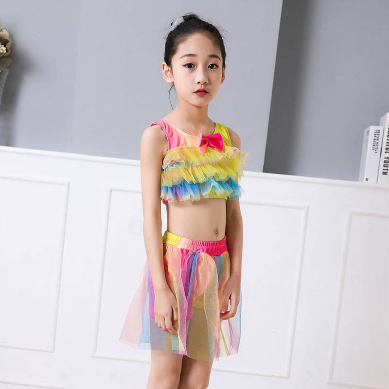 New Style Listed Girls' Two-piece Swimsuit With Cover-up Fashion CHILDREN'S Swimsuit Three-piece Set Split Skirt Hot Springs Tou
