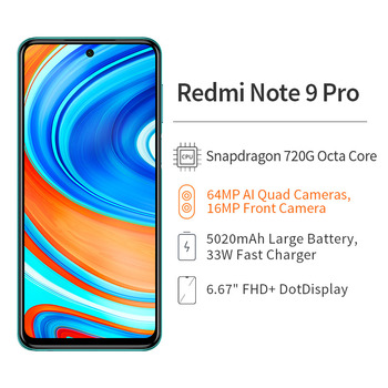 Global Version Xiaomi Redmi Note 9 Pro 6GB 128GB Cellphone Snapdragon 720G 64MP Quad Camera 6.67 2