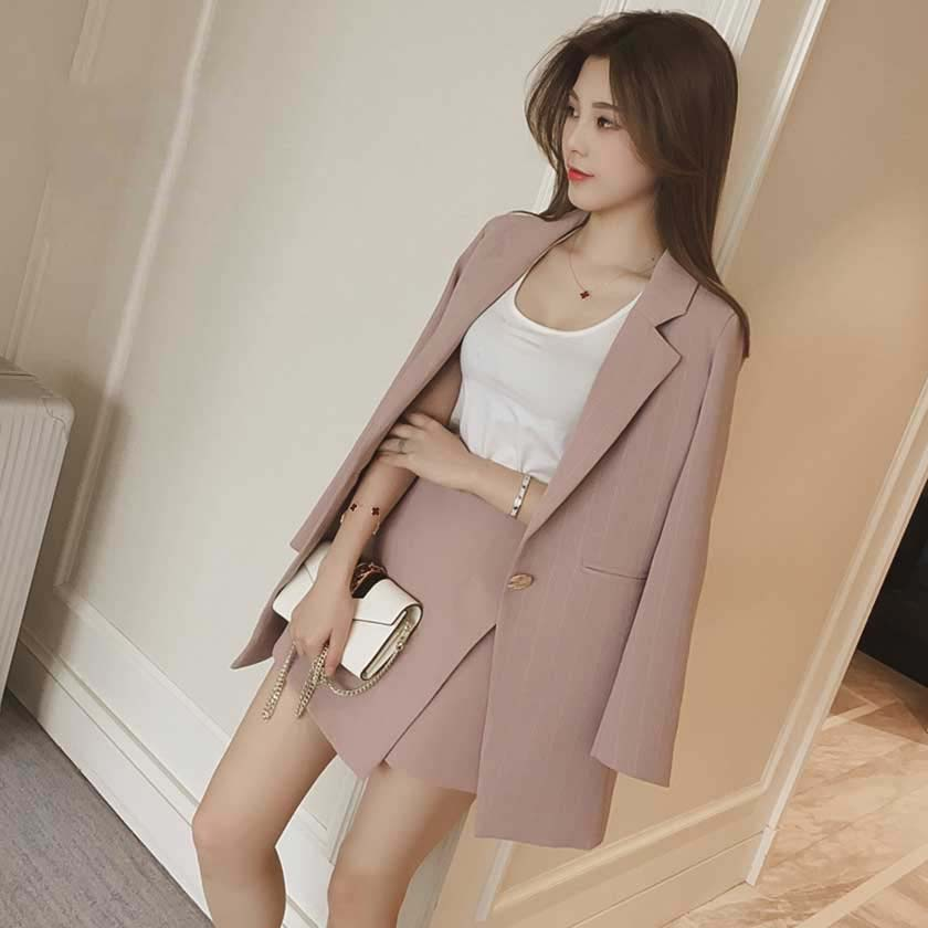 Fashion 2020 Women Skirt Suits Single Button Notched Striped Blazer Jackets Slim Mini Skirts Two Pieces Sets OL Female Sets