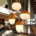 Скандинавский индивидуальный креативный одноголовый твердый деревянный орех Люстра для ресторана прикроватная Модная японская люстра