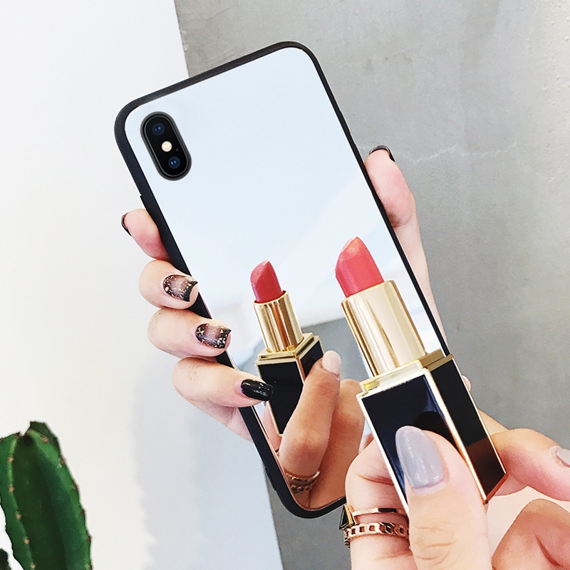 New <font><b>Makeup</b></font> Mirror Mobile Phone Shell Tempered Glass Mirror Plane Cellphone <font><b>Case</b></font> Mobile Phone Shell Shatter-Resistant image