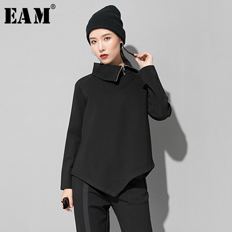 [EAM] Women Black Zipper Asymmetrical Split Joint T-shirt New Turtleneck Long Sleeve  Fashion Tide  Spring Autumn 2020 1R424