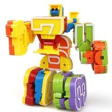 Magic Numbers Creative Blocks Assembling Educational Blocks Action Figure Transformation Robot Deformation English Letter Toys