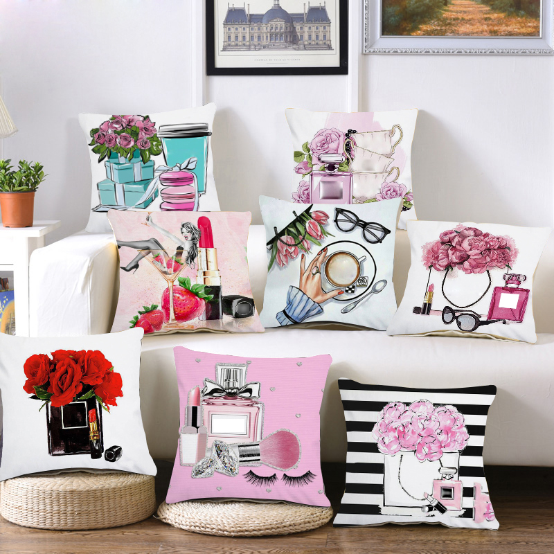 Plush Hand Painted Flowers And Perfume Bottles Cushion Cover Sofa Pillow Case Home Decor Throw/Couch Pillowcase Decorations