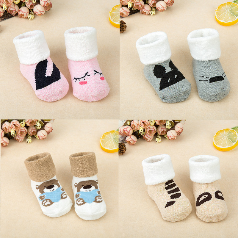 Winter Cartoon Thick Baby Asymmetric Terry Socks Warm Newborn Cotton Boy Girl Cute Toddler Socks Non-slip Floor Socks 0-2 Years