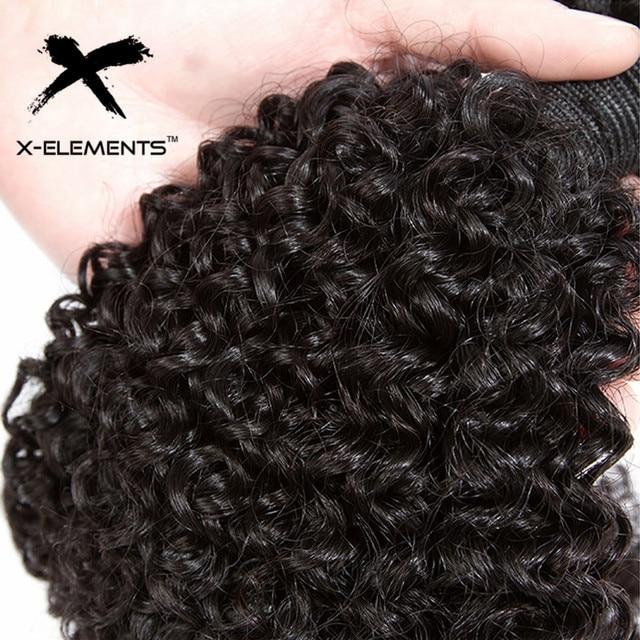 X-Elements Brazilian Kinky Curly Hair Bundles 1/3/4 Pcs Remy Human Hair Weave Bundles 8-28 Inch Natural Color Hair Extensions 6