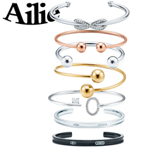 Ailey original high quality 925 sterling silver key bracelet round beads classic simple bow fashion lady jewelry couple gift