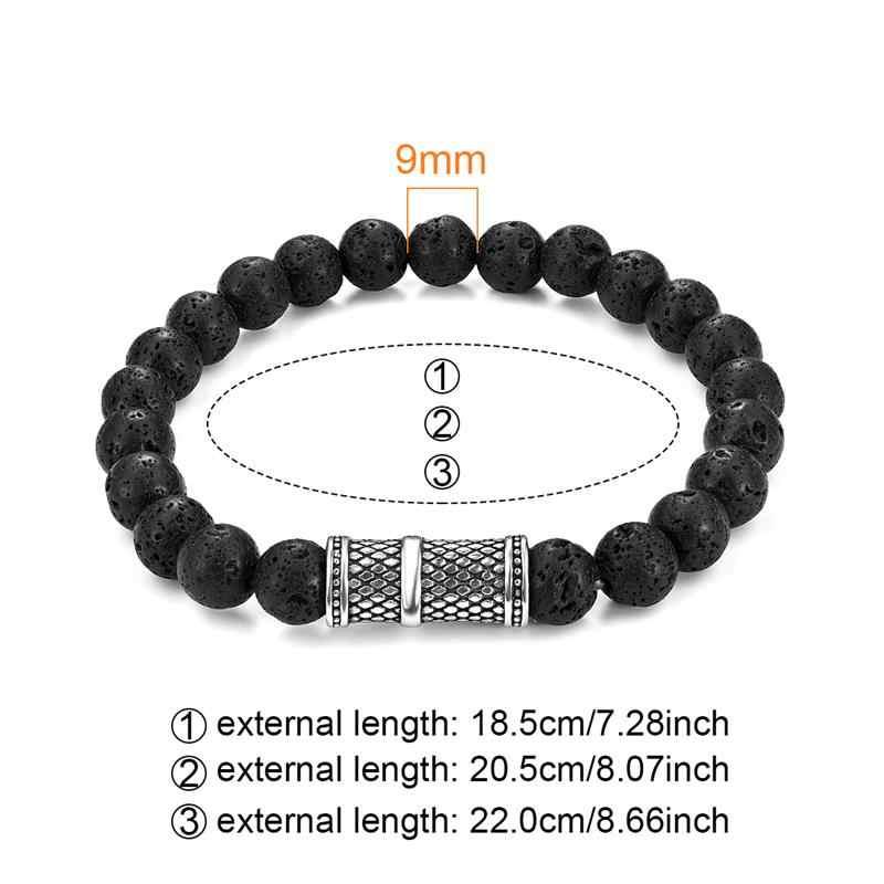 Jiayiqi 9 milímetros Vulcânica Lava Stone Beads Pulseira Equilíbrio Yoga Cura Pulseiras Encantos Pulseira para Mulheres Dos Homens Jóia de Aço Naturais