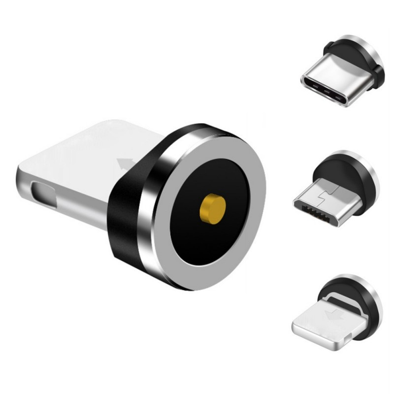 Round Magnetic Cable Plug 8 Pin Type C Micro USB C Plugs Fast Charging Phone Magnet Charger Plug For IPhone Free Shipping