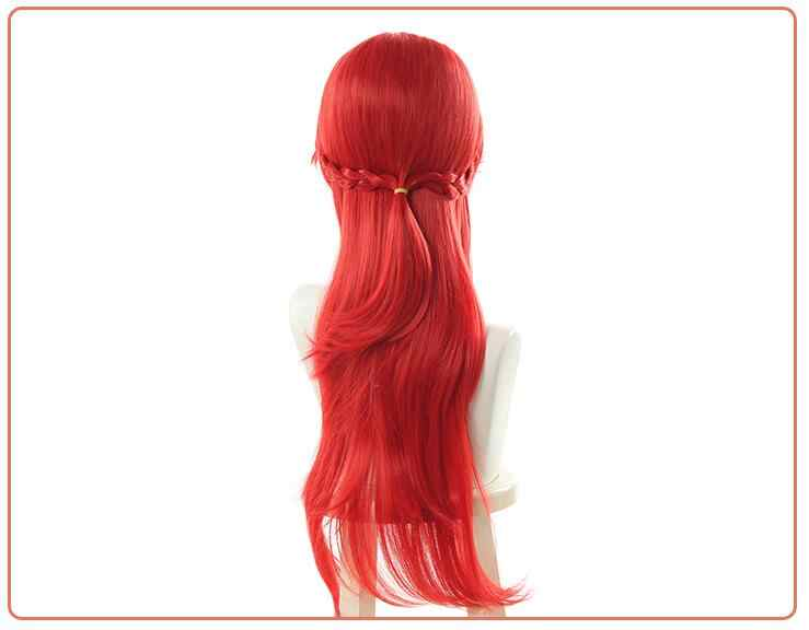 ゲーム笑ルクスコスプレウィッグ笑バトル学界威信ルクスコスプレ帽子 70 センチメートル合成赤髪長い髪の女性コスプレドレス