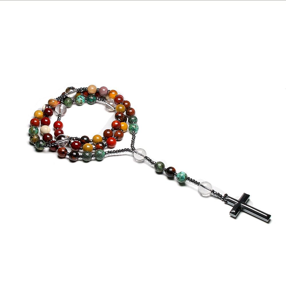 Quarzo naturale Mookaite perline cattolico cristo rosario collane ematite croce pendente collana per donna uomo meditazione Mala 1
