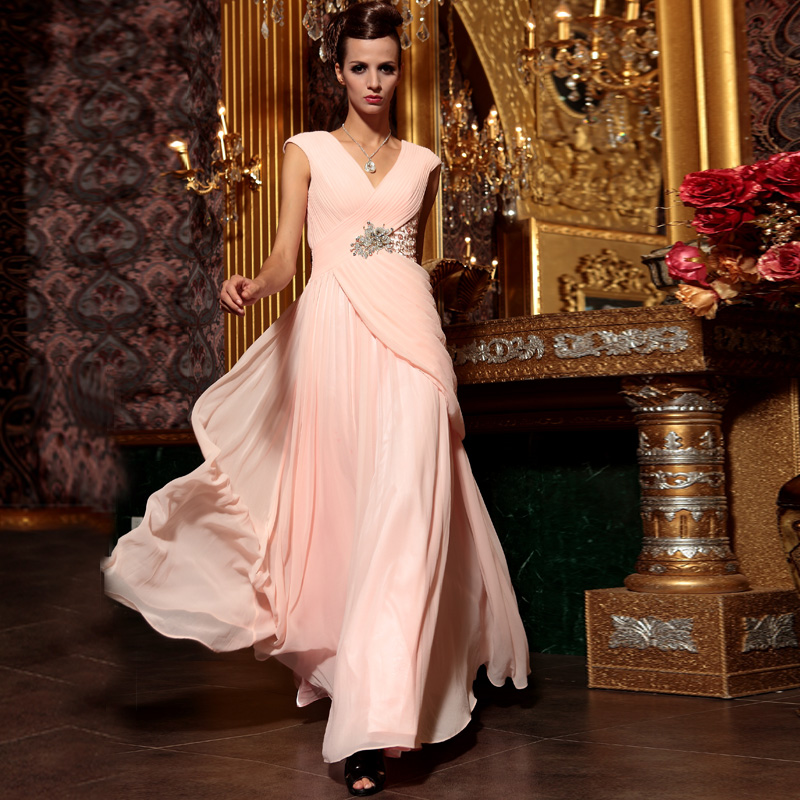 New Pink Rhinestones Crystal Beading Plus Size Floor Length Special Occasion Evening Prom Dress 2020 Mother Of The Bride Dress