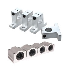 8 Pcs 20Mm Aluminium Bearing: 4 Pcs Shaft Support Pillow Block & 4 Pcs SC20UU Linear Motion Ball Bearing Slide Bushing for CNC(China)