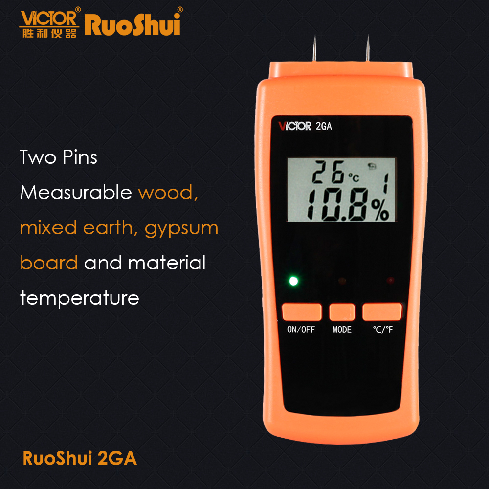 RuoShui 2GA 0 80% Two Pins Digital Wood Moisture Meter Wood and Building materials Humidity Tester Hygrometer Timber LCD Display|Moisture Meters| |  - title=