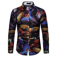 3D Parrot Animal Print Shirt Men 2019 Fashion Slim Fit Long Sleeve Gold Floral Shirt Men Business Casual Button Down Shirts