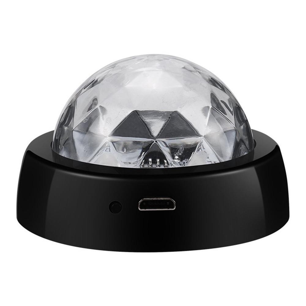 LED USB Cool Mini Car Atmosphere Light Phone Music Control Crystal Magic Ball Disco Lamp RGB Colorful Light DJ Light