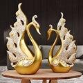 Европейский смолы Золотой лебедь пара свадебные украшения дома гостиной настольные статуэтки ремесла отель офисный Настольный мебели укр...
