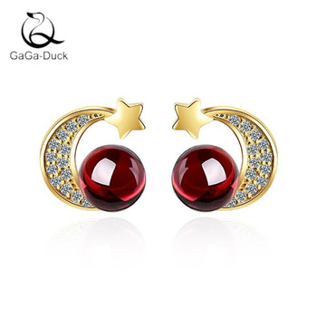 New Creative Garnet Star And Moon Fashion Jewelry 925 Sterling Silver Red Stone Simple Crystal Exquisite Stud Earrings E900 image