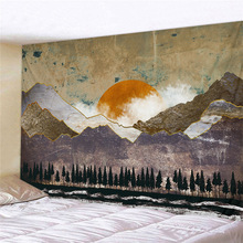 Japanese Style Wall Tapestry Abstract Painted Whale Sunset Mountain Forest Hippie Mandala Tapestry Landscape Wall Hanging Carpet sunset forest horse pattern wall art tapestry