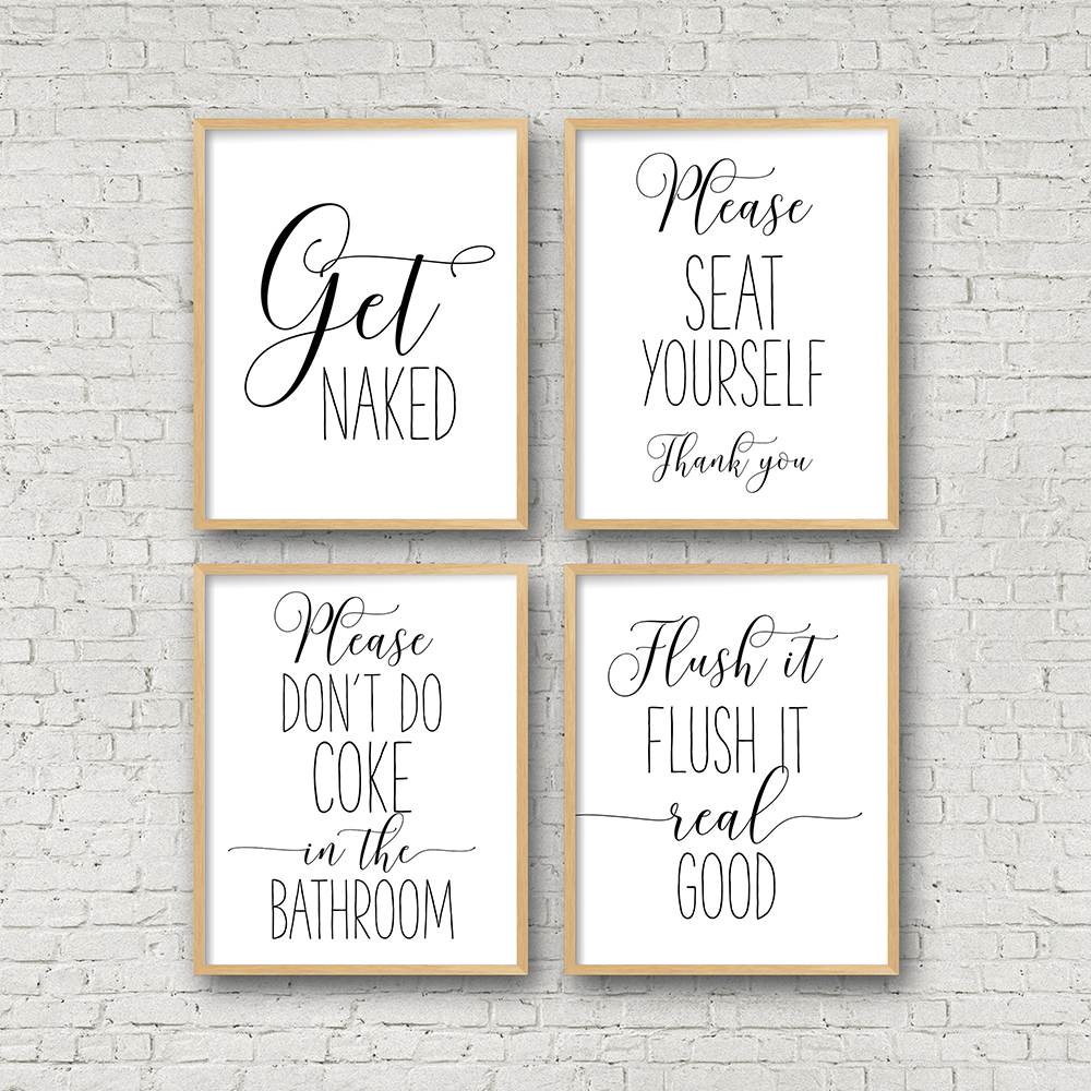 Funny Bathroom Sign Canvas Poster Wall Art Prints Get Naked Please Seat Yourself Flush It Real Good Toilet Signs Bathroom Decor Painting Calligraphy Aliexpress