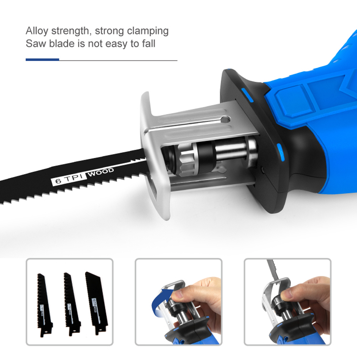 Tools : Cordless Reciprocating Saw 21V Chainsaw Cutting Wood Metal PVC Pipe Adjustable Speed with Saw Blades Power Tool By PROSTORMER