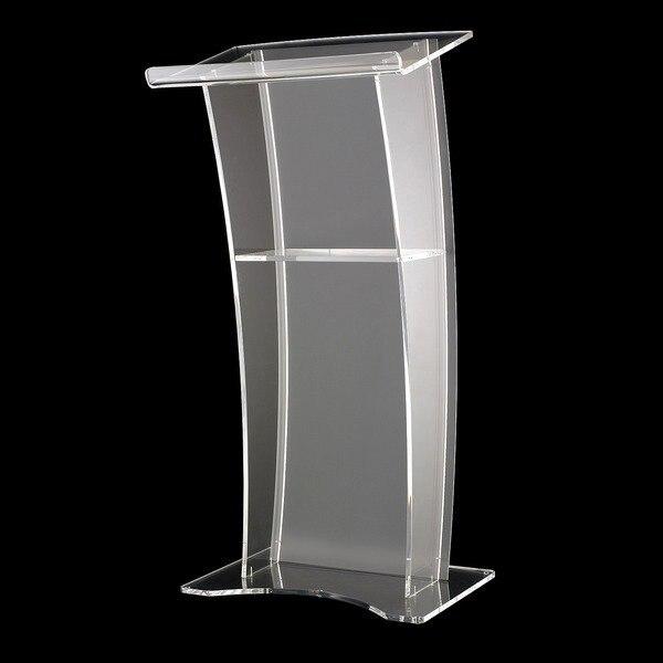 Free Shipping Modern Clear Acrylic Podium, High Quality Pulpit Table Logo Customize Podium Acrylic