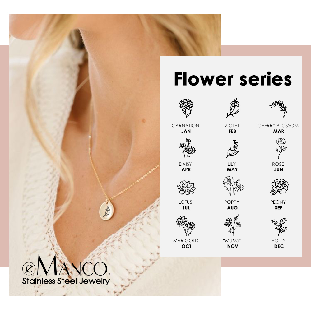 eManco Engrave Plants Necklace women Gold Color 316L Stainless Steel Necklace Female Trendy Choker Necklace Fashion Jewelry