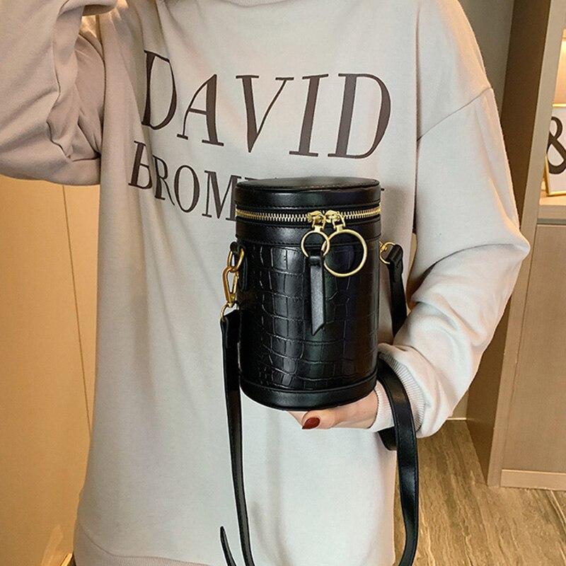 Fashion Pattern Cylindrical Female Bucket Bag Women Crocodile Print Shoulder Messenger Bags Luxury Brand Designer Female Handbag
