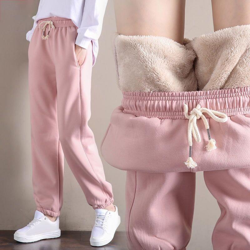 Women Winter Warm Fleece Lined Sports Pants Loose Jogging Trousers Sweatpants