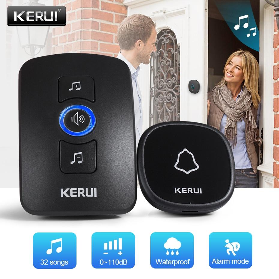 Kerui m525 campainha sem fio botão de toque à prova dwireless água segurança em casa bem vindo inteligente campainha da porta alarme led luz 32 músicas