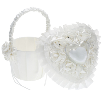 New Satin Flower Girl Wedding Basket And Ring Pillow  for Party Storage Box White Heart Ring Pillow Ring Holder Wedding Decorati