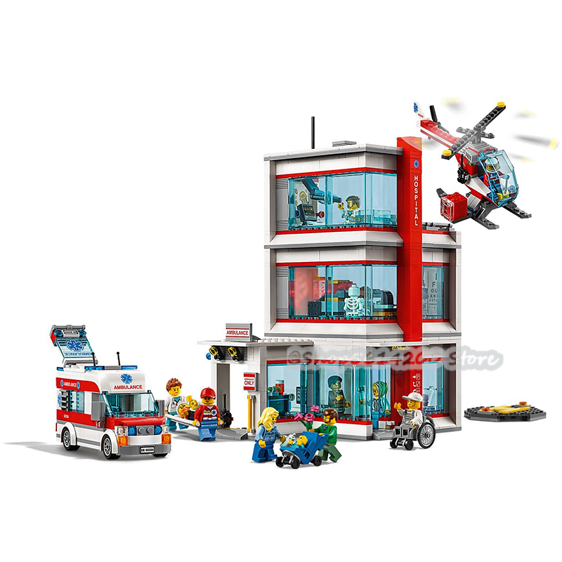 DIY Toys Waste Time Toy Columns Compatible With Lepinging 02113 City Series City Hospital 60204 Hospital Building Blocks
