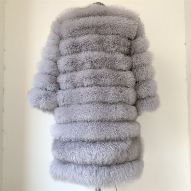 100% Natural Real Fox Fur Coat Women Winter Genuine Vest Waistcoat Thick Warm Long Jacket With Sleeve Outwear Overcoat plus size 85