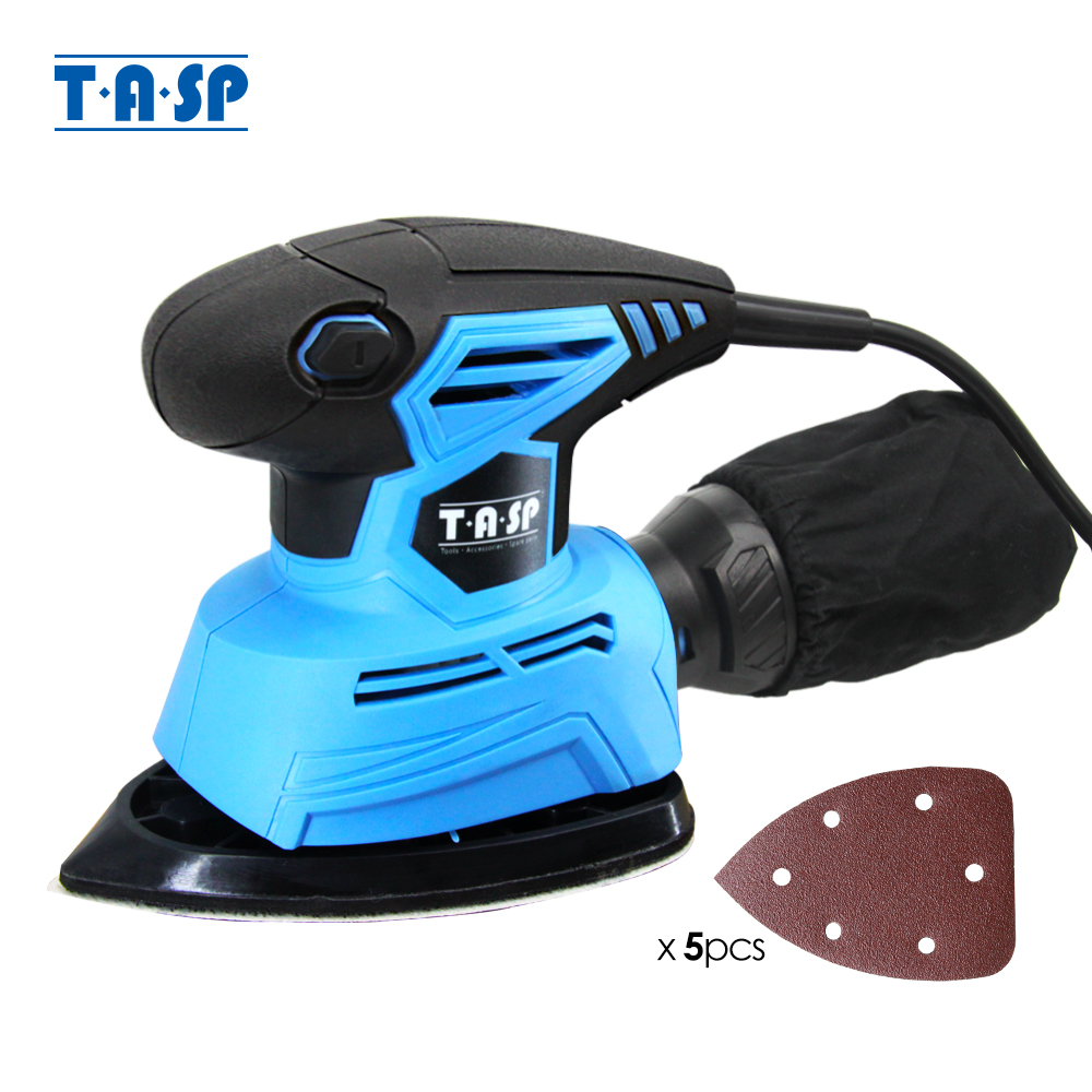 TASP 130W Electric Mouse Sander Detail Sanding Machine Woodworking Tools for Wood with Dust Collection Bag & 5 Sandpapers