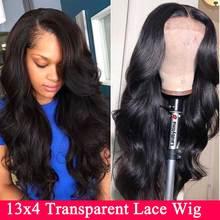 HD прозрачный бразильский Волнистый парик фронта шнурка Невидимый незаметный перуанский волнистый парик фронта шнурка человеческих волос для женщин