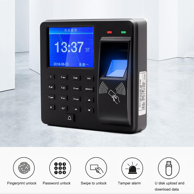 Intelligent Fingerprint Attendance Machine With Access Control Swipe ID Card Password Unlock Employee Smart Clock Recorder