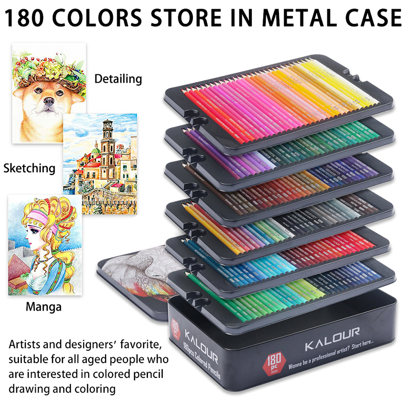 Oily Colored Pencils with Metal Box 180 Unique Coloured Pencils and Pre Sharpened Crayons for Coloring Book-Ideal Christmas Gift 2